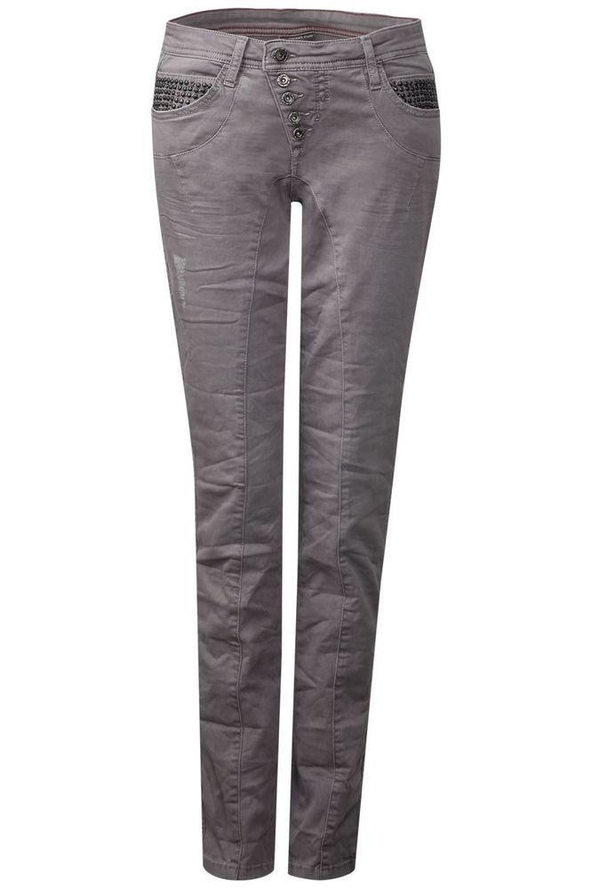 Street One Street One Coloured Casual Fit Jeans Nietenbesatz - Grau Neu Gr.44