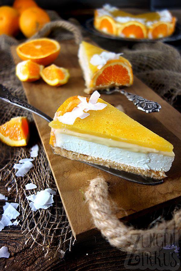 Cremiger Orangen-Cheesecake mit Kokos und weißer Schokolade. Ganz ohne backen -…