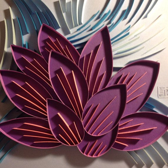 3D Paper Quilling Purple Flower on Blue by POWpaper on Etsy