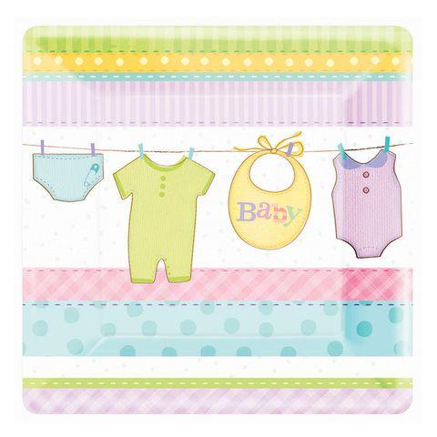 Platos para baby shower. De cartón. Forma cuadarada. http://mundobabyshower.cl/platos-cuddly-clothesline