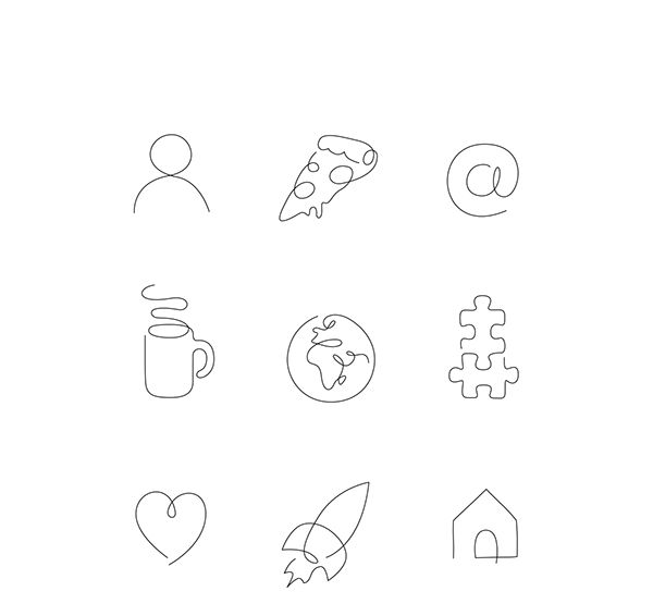100+ icons made in One Line.