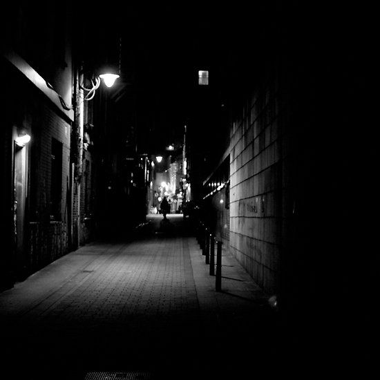 Beside the Castle, Dublin Castle, Dublin, Ireland. #nighttime #alley #dublincastle #dublin #ireland #blackandwhite