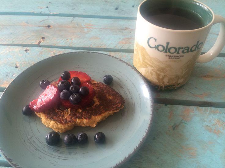 Gluten free pancakes (banana, egg, oatmeal) and berries