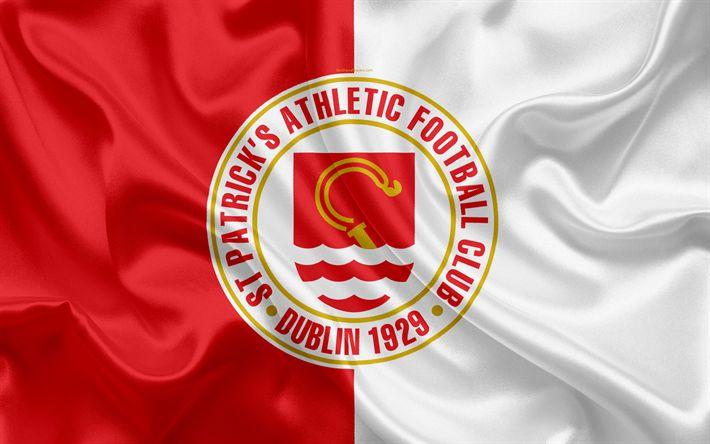 Download wallpapers St Patricks Athletic FC, 4K, Irish Football Club, logo, emblem, League of Ireland, Premier Division, football, Incicor, Ireland, silk flag, Irish Football Championship