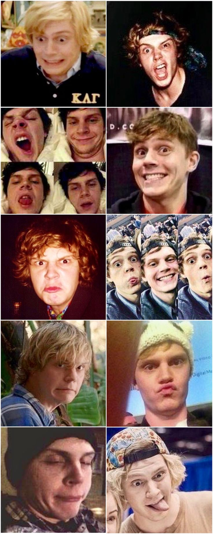 Wacky Evan Peters! A man of a thousand faces! Follow rickysturn/evan-peters