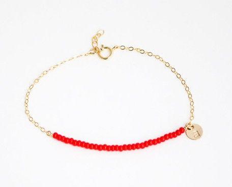 Custom Red Bead Bracelet