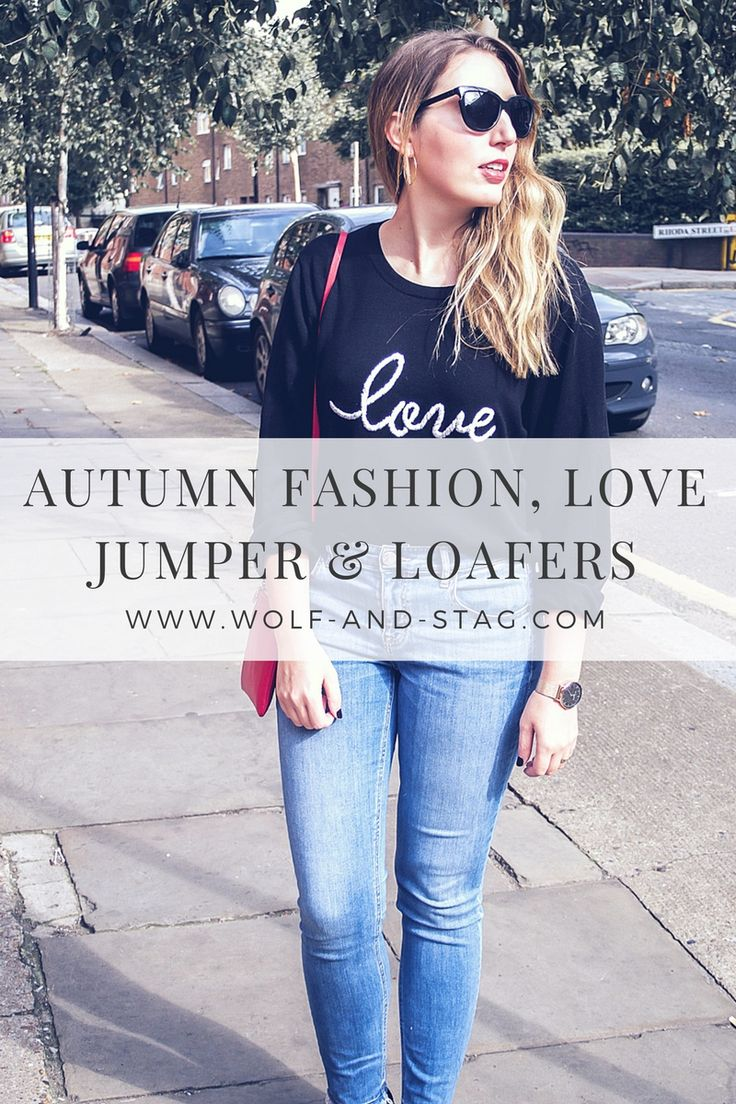 Autumn fashion, featuring love jumper by Hush, skinny jeans by Lou & Grey, red bag by Aurora London, watch by Elie Beaumont London, sunglasses by Neubau Eyewear and black suede loafers by Dune | Wolf & Stag