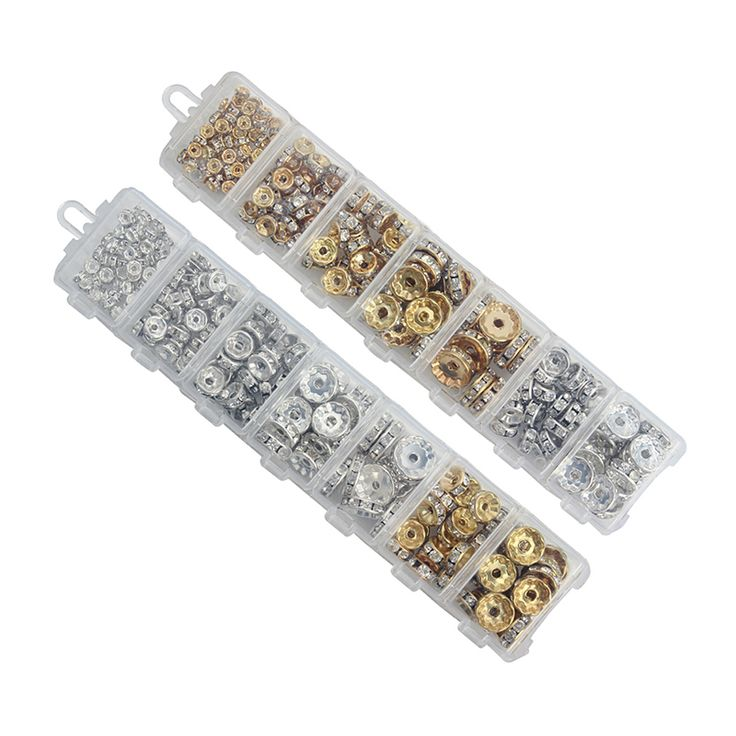 Beads  1Box/lot Mix 6/8/10/12mm Dia Gold/Silver Plated Metal Rondelle Spacer Beads Rhinestone Loose Crystal Beads Jewelry Making F3747 *** AliExpress Affiliate's Pin.  Locate the AliExpress offer simply by clicking the image.