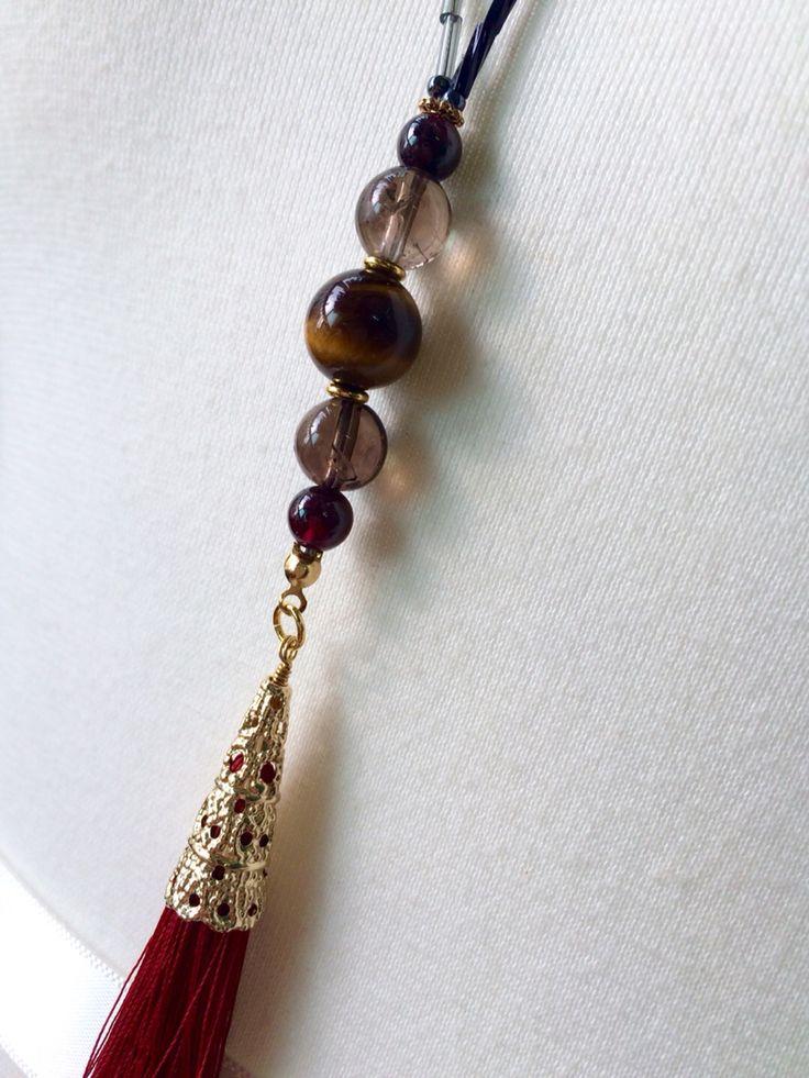 red tassel necklace / Golden tiger's eye / Smoky quartz / Garnet / by So.