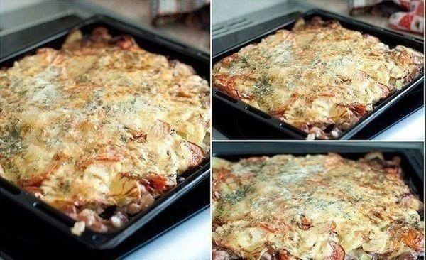 Ингредиенты:  - Картофель - 20 шт.   - Лук - 3-4 шт.   - Мясо - сколько уйдет  - Сыр - 300-400 г   - Майонез - 2 упаковки   - Соль   - Специи   - Зелень  Приготовление:   Вместо курицы можно использ…