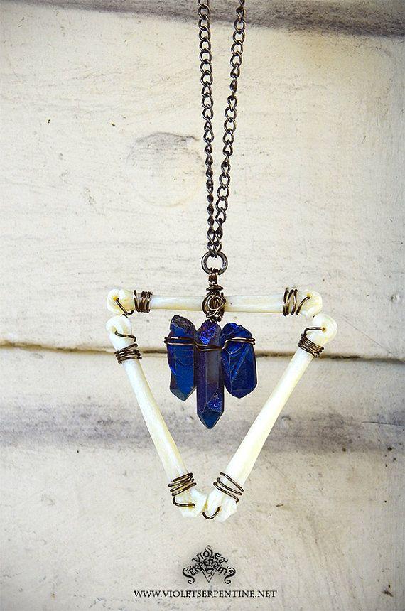Blue Titanium Aura Quartz Inverted Coyote Toe Bone Triangle Necklace