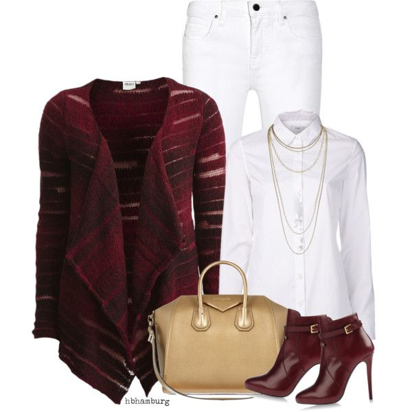A fashion look from January 2015 featuring red top, long sleeve button down shirts and mid rise white jeans. Browse and shop related looks.