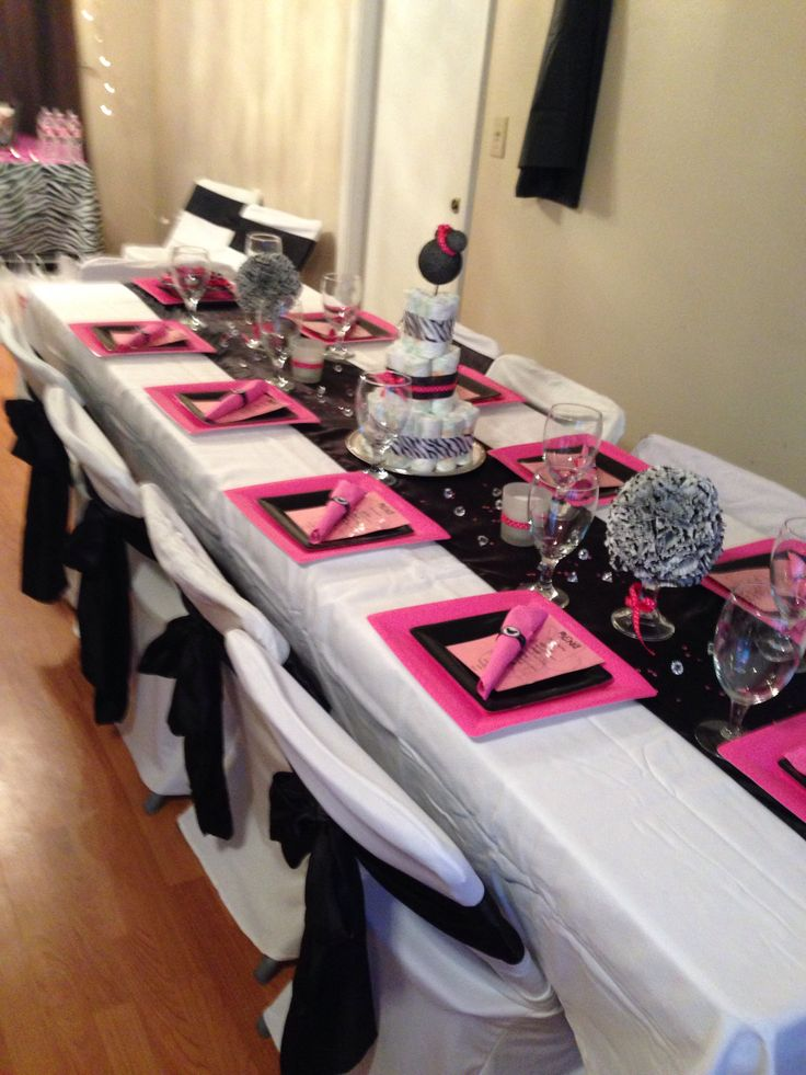 Girl Baby Shower Idea Minnie Mouse Theme With Zebra Print, Black And White  Decor