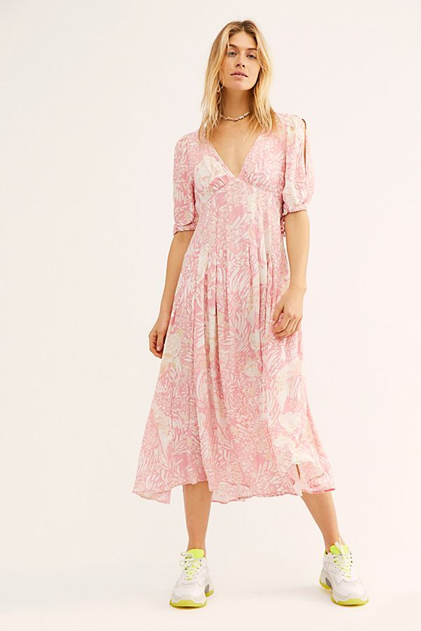 4eed27b446 Forever Always Midi Dress - Light Pink Floral Midi Dress - Pink Floral Midi  Dress - Pastel Pink Midi Dress - Free People Pink Dresses - Free People  Dresses ...