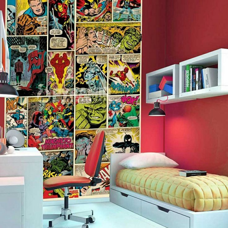 21 best images about superhero themed boys bedroom on for Man u bedroom stuff