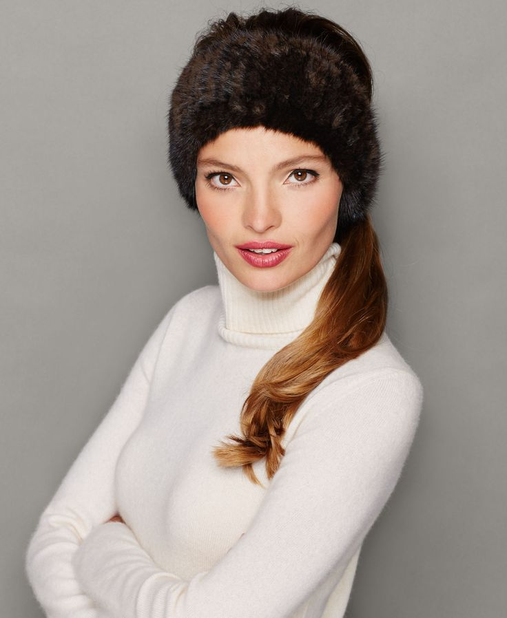 Warm up in haute style with The Fur Vault's knitted mink fur headband! | Real mink fur; lining: polyester | Professional fur clean only | Imported | Fur origin: Denmark | Genuine dyed, pieced mink fur