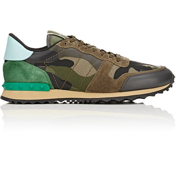 Valentino Men's Camouflage Rockrunner Sneakers (21 050 UAH) ❤ liked on Polyvore featuring men's fashion, men's shoes, men's sneakers, green, men's low top sneakers, mens leather lace up shoes, men's low top shoes, mens leather sneakers and mens sneakers