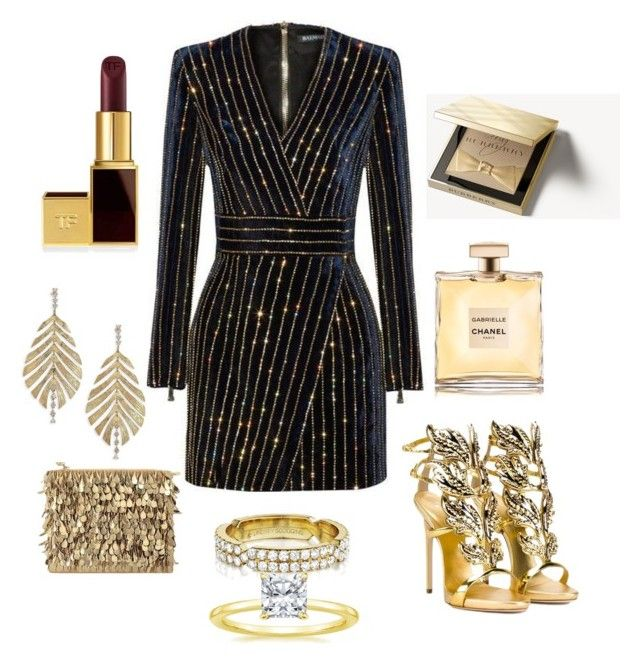 """""""Gold vibe🌟"""" by extravagantf on Polyvore featuring Balmain, Giuseppe Zanotti, Forest of Chintz, Lumière, Hueb, Tom Ford and Burberry"""