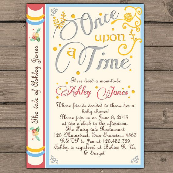 Once Upon a Time baby shower invitation Shower invite Gender neutral Fairy Tales Storybook Baby shower invitations Digital Printable DIY