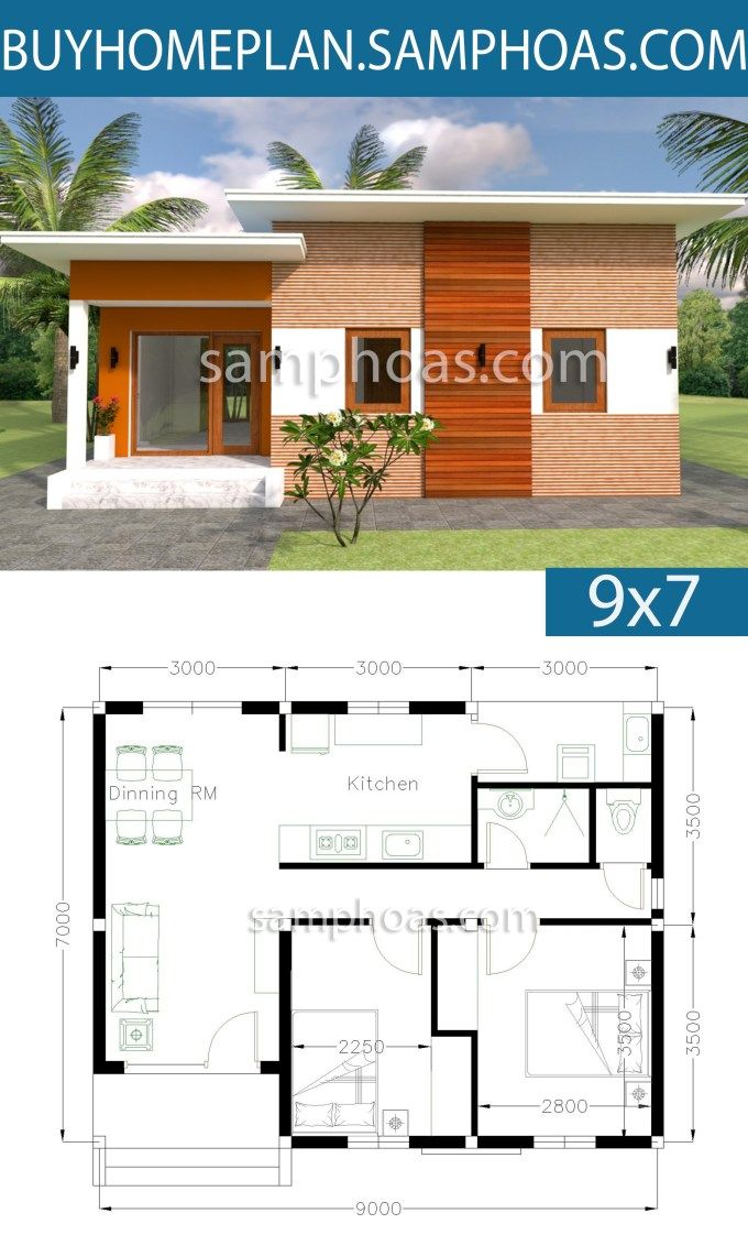 House Plans 9x7m With 2 Bedrooms Sam House Plans Small House Design Plans House Plans House Layout Plans