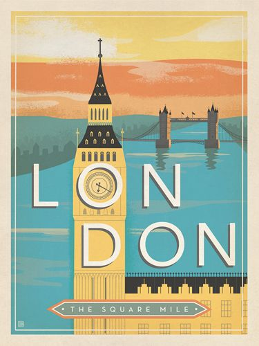 England, London: Mid-Century Modern - We were inspired by vintage travel prints from the Golden Age of Poster Design (a glorious period spanning the late-1800s to the mid-1900s.) This lovely London design was created in a Mid-Century Modern style of ilustration made popular by TWA travel posters in the 1950s.<br />
