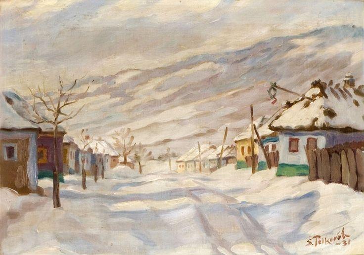 slovenské umenie - maľba - Polkoráb Štefan, Zima v Smoleniciach, 1931, olej, kartón, 40x50cm,