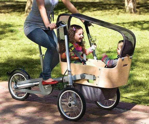 Get some exercise while you treat the kids to a leisurely ride by taking them on this bicycle stroller. Using modular accessories, you can go from a cargo hauler to a two seater stroller bicycle the kids will positively love.