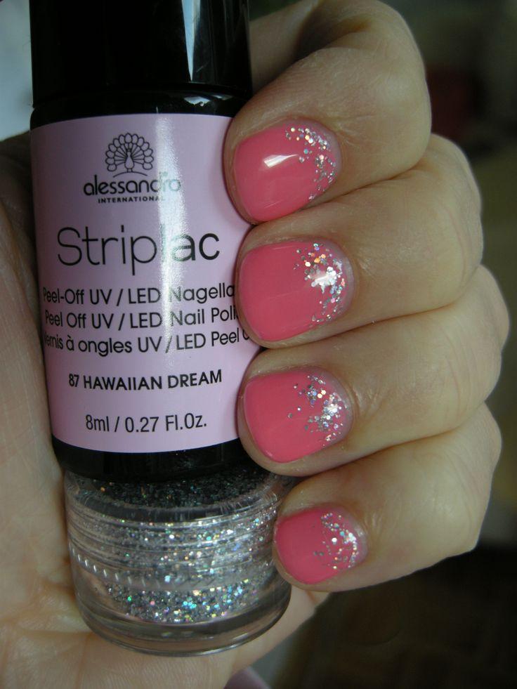Striplac 87 Hawaiian Dream (even a little more coral than in the picture) + silver Striplac Glitter #striplac