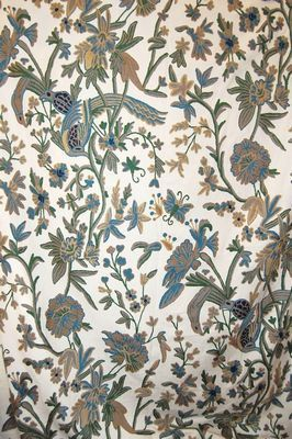 Cotton Crewel Embroidered Upholstery Fabric Birds Gray and Blue #MHJ002 - Best of Kashmir