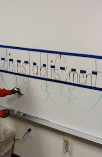 use painter's tape on white board to create handwriting line (no sticky residue)   -   at the beginning of kindergarten, don't confine the kids within lines, just let them write...later in the year is when you can introduce lines