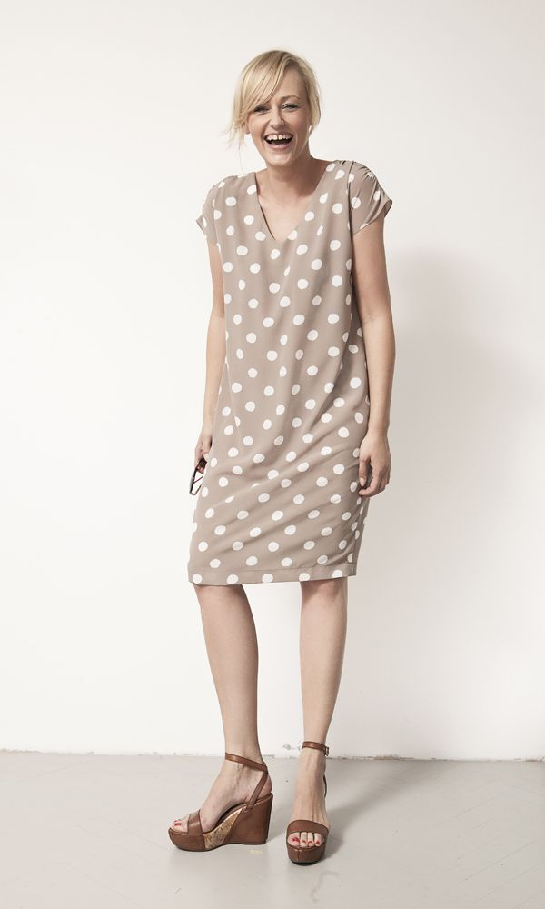beige dress with dots