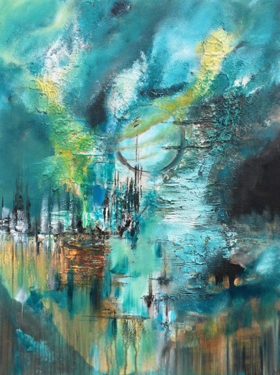"""""""Full Moon"""" , Abstract , Acrylic Painting - 24x32 inches (2016) Pintura acrílica by Mo Tuncay 