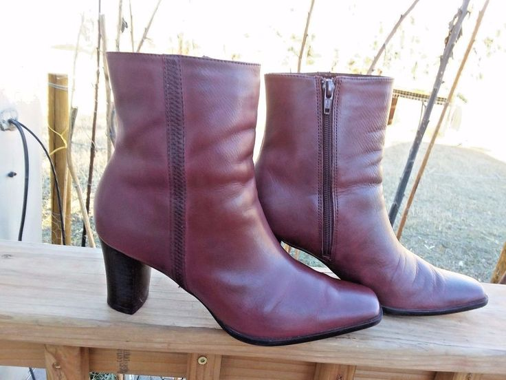 """ANA Women's Burgundy Leather Ankle Boots With 3"""" Heel Size 8.5 M 