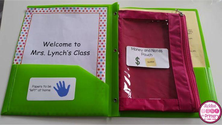 back to school folder ideas - handprint labels, money/notes labels, classroom handbook