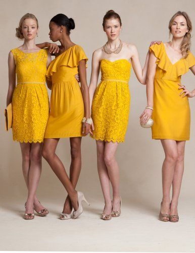 Mustard yellow bridesmaid dresses- could mustard be a good colour next to the grey of your dress?