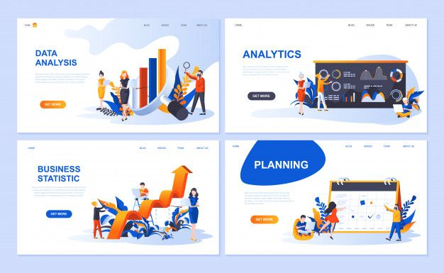 Set Of Landing Page Template For Data Analysis Analytics
