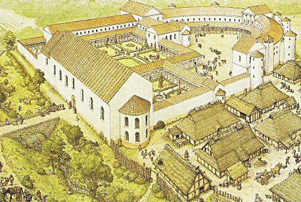 artist's reconstruction of Charlemagne's palace at Ingelheim  - the site of a palace Charlemagne planned but it was not completed by the time of his death in 814. He wintered here in 787.