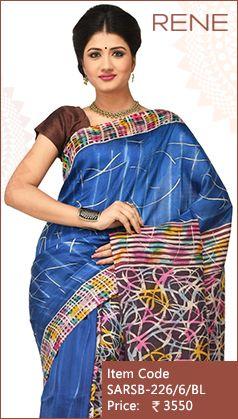 #ReneIndia #Blue #Batik #Print #Handloom #Traditional #Festivewear #Silk #Saree #Kolkata #Bengali #bengalee #Westbengal #ethnic available on #Flipkart #Paytm #Snapdeal