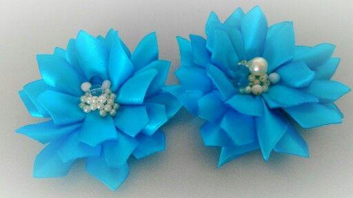 В ожидании лета создаем лето. Waiting for summer - creating the summer. Hair pin and broche.  #handmade #хендмейд #satinflower #flower #blue #summer #цветыизткани #цветы #лето