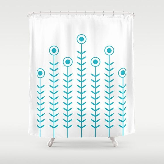 36 colours, Minimalist Flowers Shower Curtain, Scandinavian style, Scuba Blue geometric shower curtains, flower pattern bathroom decor