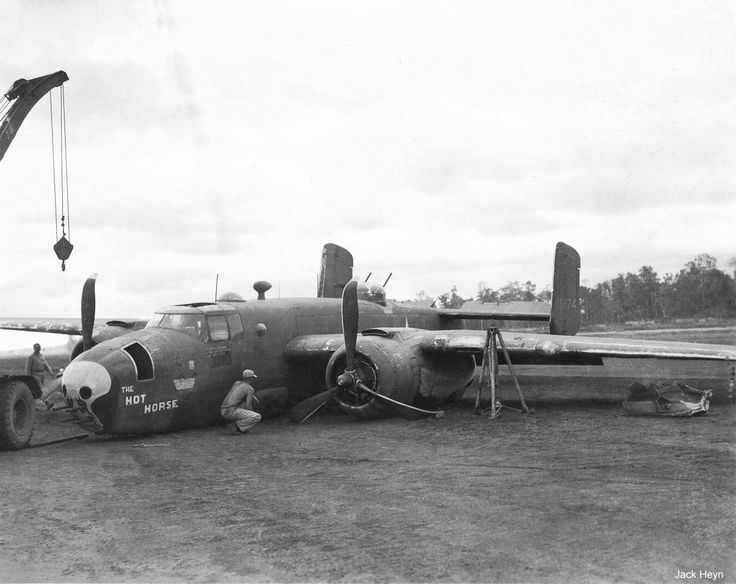 Photo Us B 25 Bomber Hot Horse After Belly Landing At