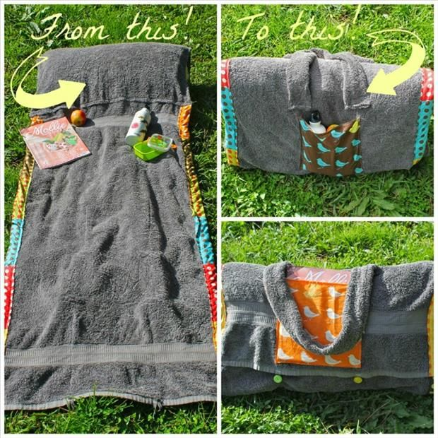 a turn a beach towel into a purse