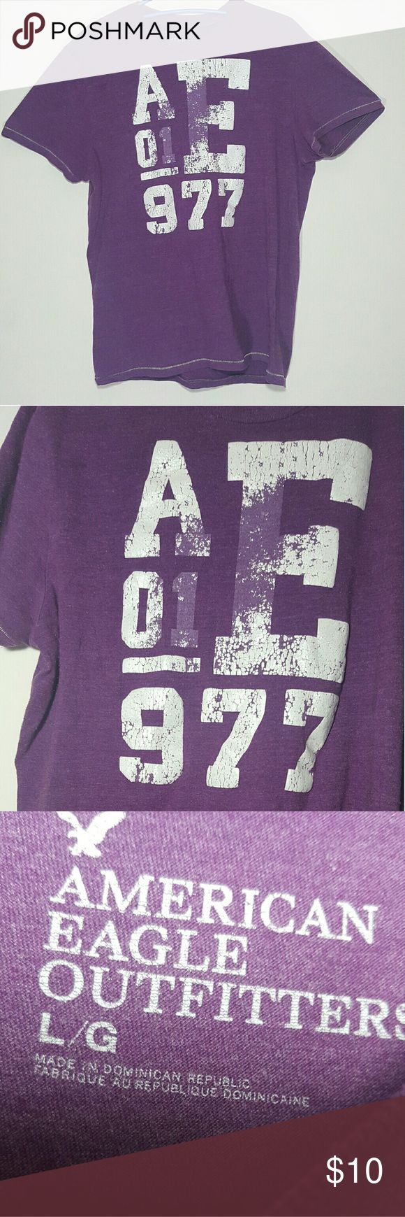 American Eagle Outfitters distressed shirt L mens American Eagle Outfitters shirt distressed purple/White Size L  Great condition lightly worn American Eagle Outfitters Shirts Tees - Short Sleeve