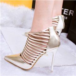 Shoespie Cut-outs Zipper Stiletto Heels