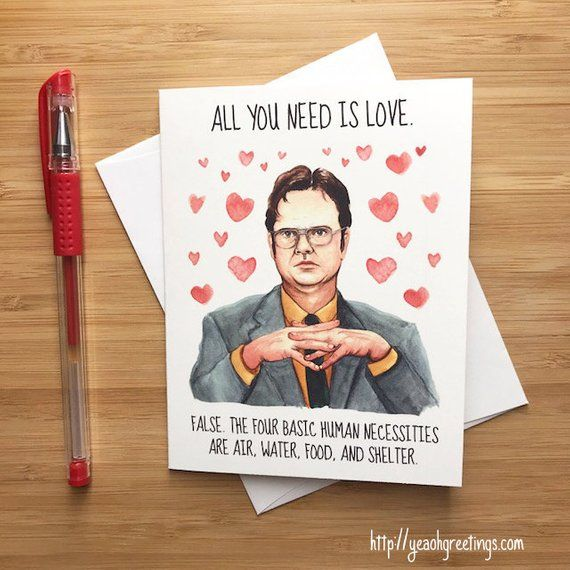 Cute Dwight Love Card Funny Office Valentines Card Happy