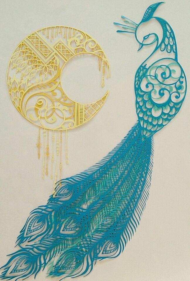 切り絵「花鳥風月」孔雀1 コトコト切り絵中