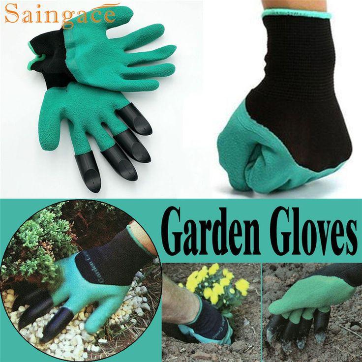 Saingace indah pet 1 pair baru Berkebun Sarung Tangan untuk taman Penanaman Menggali dengan 4 ABS Plastik Cakar mar28