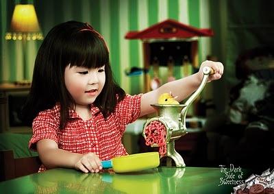"""The Dark Side of Sweetness""... a chocolate ad...: Baby Chick, Children Plays, Little Girls, Caribú Bitterness, Ads Campaigns, Disturb Adverti, Chocolates Bar, Dark Side, Prints Ads"