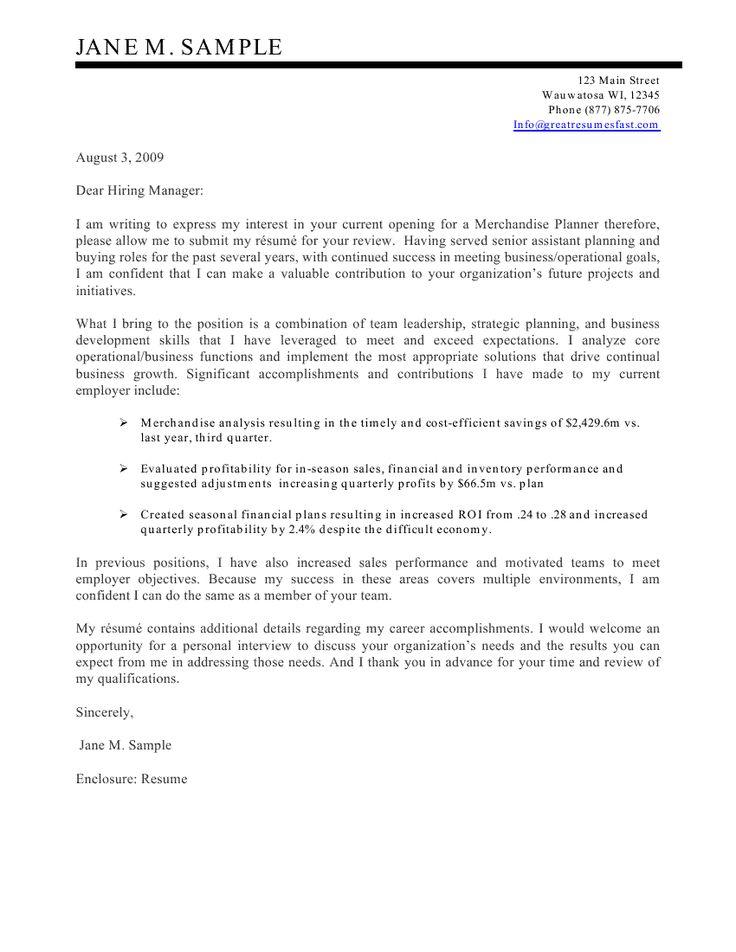 Merchandise Planner Cover Letter Sample