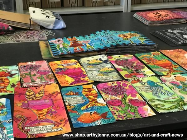 Samples of stamped artwork on tags by Dyan Reaveley, on display at the workshop I recently attended. Read on if you're in Adelaide and want to attend a day creating art in Dyan's vibrant style.